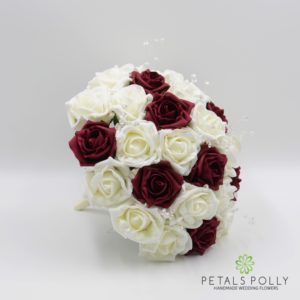 burgundy and ivory foam rose brides posy