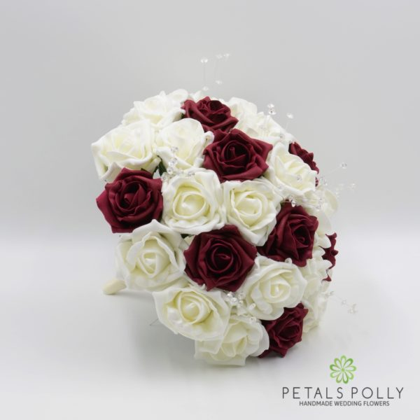 Burgundy & Ivory Foam Rose Brides Posy with Crystal Stems