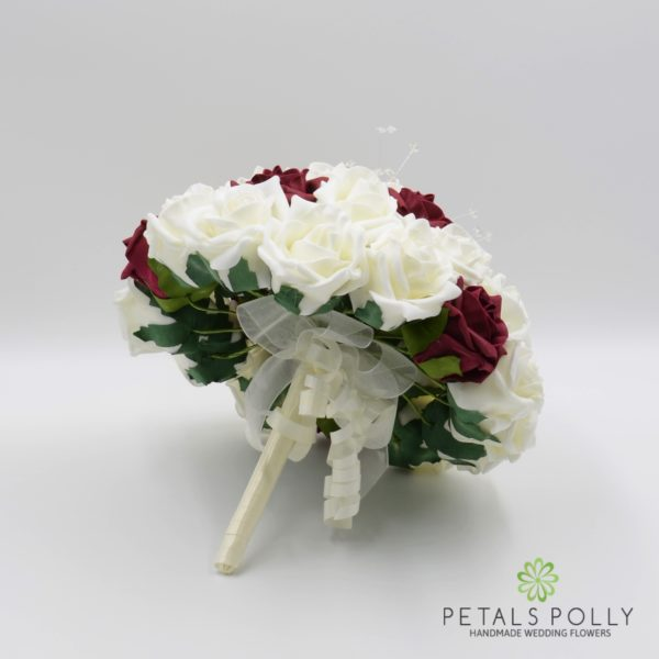Burgundy & Ivory Foam Rose Brides Posy with Crystal Stems
