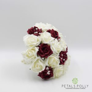 burgundy and ivory foam rose bridesmaids bouquet