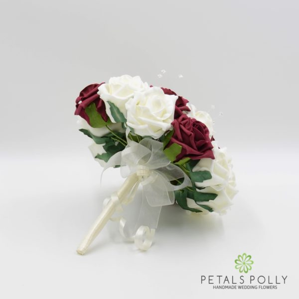 Burgundy & Ivory Foam Rose Bridesmaids Posy with Crystal Stems