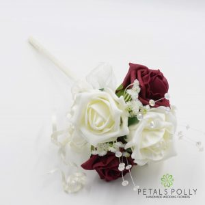 Burgundy and ivory foam rose flower girl wand