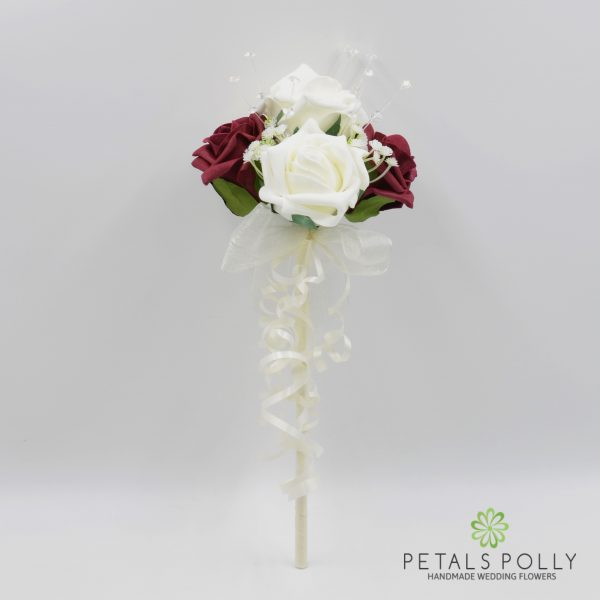 Burgundy & Ivory Foam Rose Flower Girl Wand with Crystals