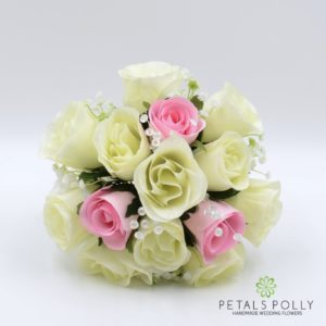 silk baby pink and ivory rose bridesmaids posy