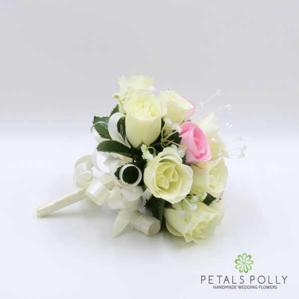 Baby Pink & Ivory Rose Bridesmaids Posy with Crystal Stems