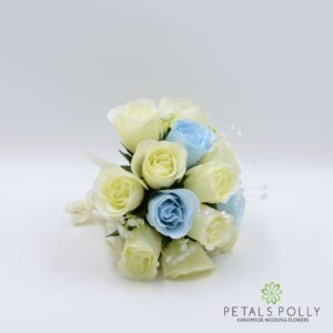 silk baby blue and ivory rose bridesmaids posy