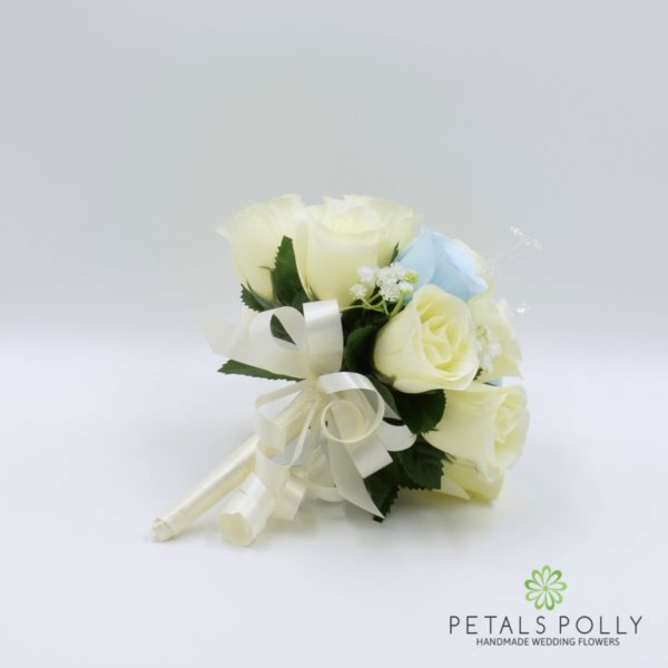 Baby Blue & Ivory Rose Bridesmaids Posy with Crystal Stems