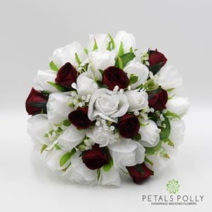 Burgundy & White Rose Brides Posy