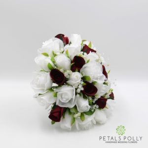 silk white and burgundy rose brides bouquet