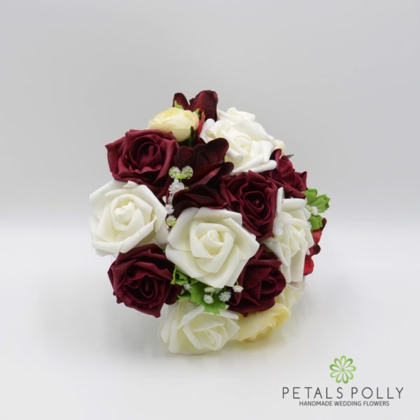 Burgundy & Ivory Rose Bridesmaids Posy with Ranunculus and Hydrangea