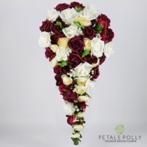burgundy and ivory artificial brides teardrop bouquet