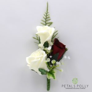 silk burgundy and ivory triple rose buttonhole corsage