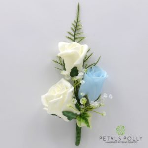 silk baby blue and ivory triple rose buttonhole corsage