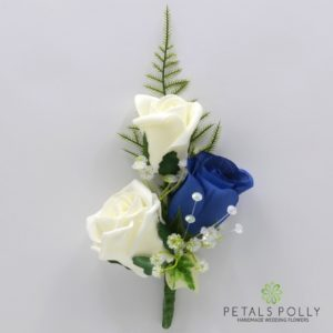 silk royal blue and ivory triple rose buttonhole corsage