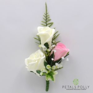 silk baby pink and ivory triple rose buttonhole corsage