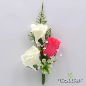 silk hot pink and ivory triple rose buttonhole corsage