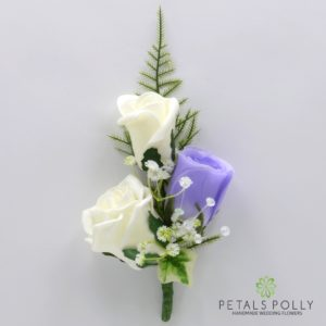 silk lilac and ivory triple rose buttonhole corsage