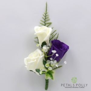silk purple and ivory triple rose buttonhole corsage