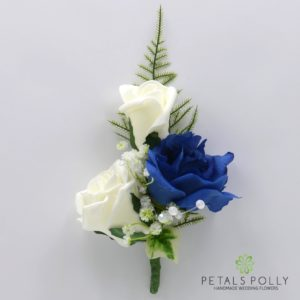 silk navy blue and ivory triple rose buttonhole corsage