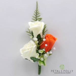silk orange and ivory triple rose buttonhole corsage