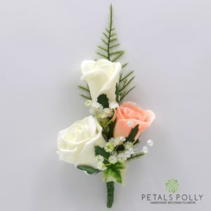 silk peach and ivory triple rose buttonhole corsage