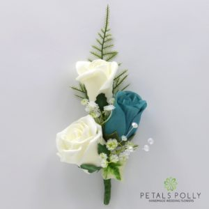silk teal and ivory triple rose buttonhole corsage
