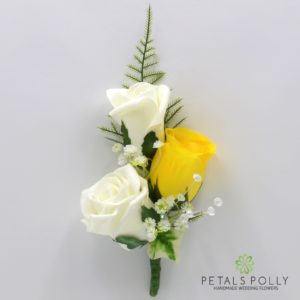 silk yellow and ivory triple rose buttonhole corsage