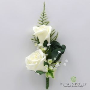 silk sage green and ivory triple rose buttonhole corsage