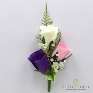 silk purple pink and ivory triple rose buttonhole corsage
