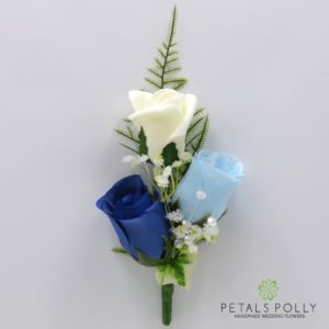 silk royal blue baby blue and ivory triple rose buttonhole corsage