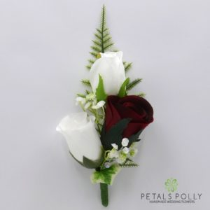 silk burgundy and white triple rose buttonhole corsage