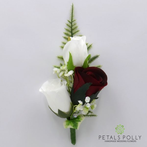 Burgundy & White Triple Rose Buttonhole / Corsage