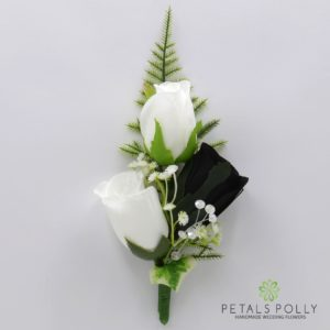silk black and white triple rose buttonhole corsage