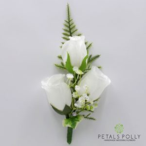 silk white triple rose buttonhole corsage