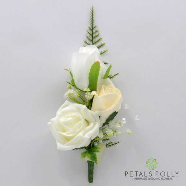 Ivory & White Triple Rose Buttonhole / Corsage