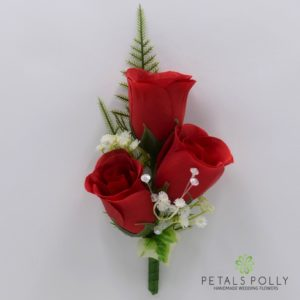 silk red rose buttonhole corsage