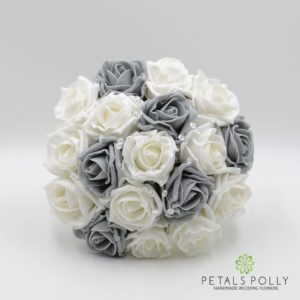 grey and white foam rose bridesmaids bouquet