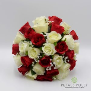 silk rose brides bouquet in red and ivory