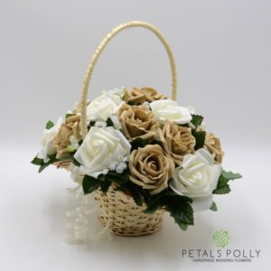 cappuccino and ivory foam rose flower girl basket