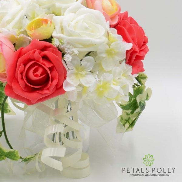 Pink, Coral & Ivory Jam Jar Posy Table Centre Decoration