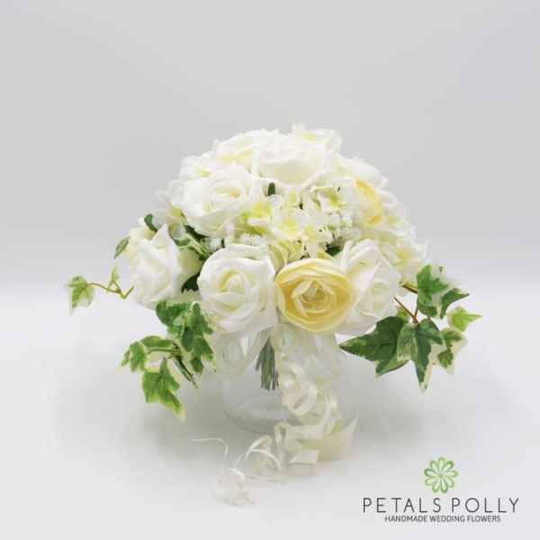 Ivory & Cream Jam Jar Posy Table Centre Decoration