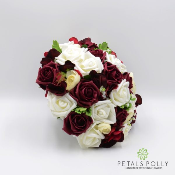 Burgundy & Ivory Rose Brides Posy with Ranunculus and Hydrangea