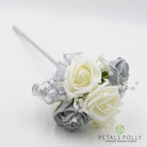 artificial grey and ivory rose flower girl wand