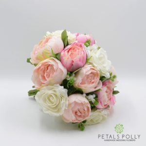 pink peony and ivory rose brides hand-tied posy