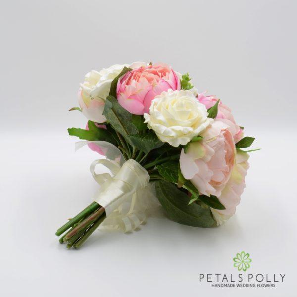 Pastel Pink Peony & Ivory Rose Brides Posy