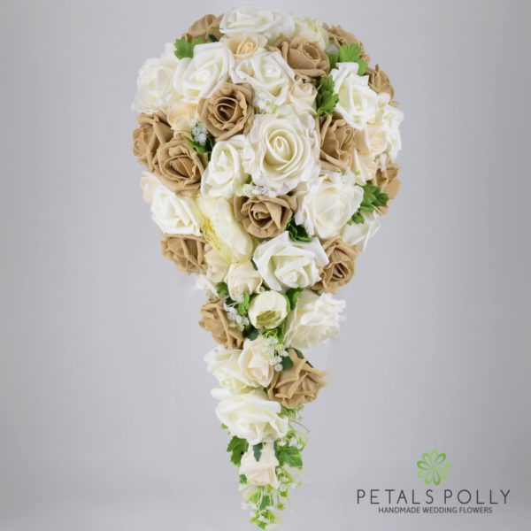 Cappuccino & Ivory Rose Brides Teardrop Bouquet with Ranunculus