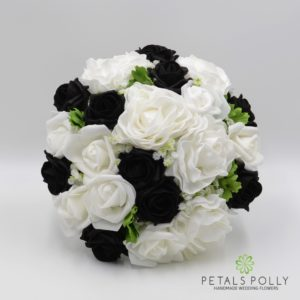 artificial black and white brides bouquet
