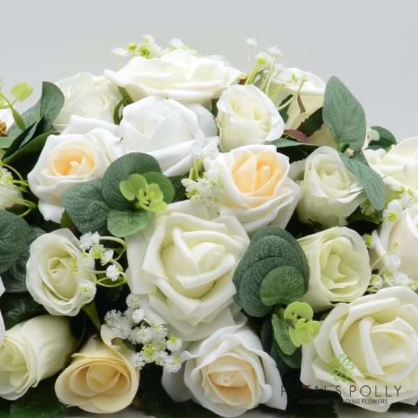 Champagne, Ivory & White Rose Top Table Decoration