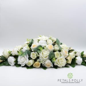 champagne ivory white wedding top table