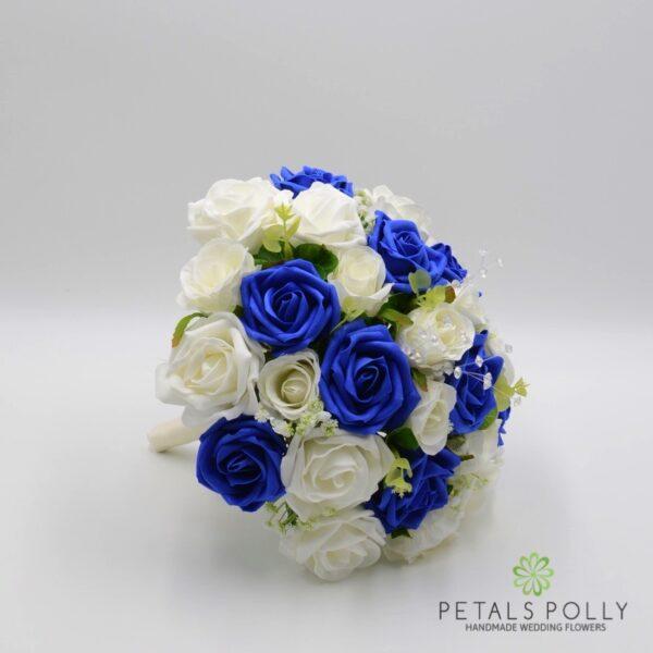 Royal Blue & Ivory Rose Brides Posy